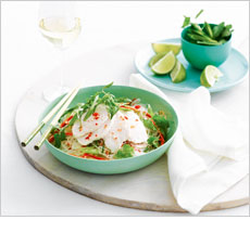 Poached chicken salad with lime noodles