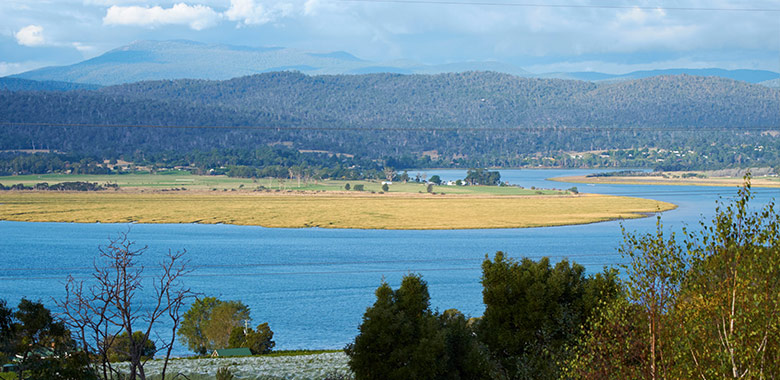 The view from Tamar Ridge Tasmanian winery