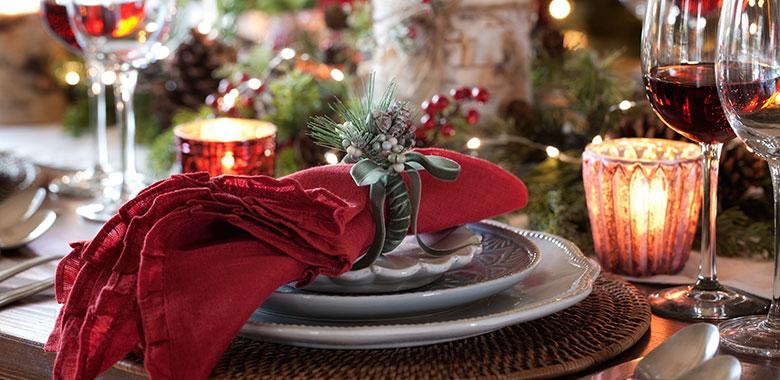A table set for a Christmas feast