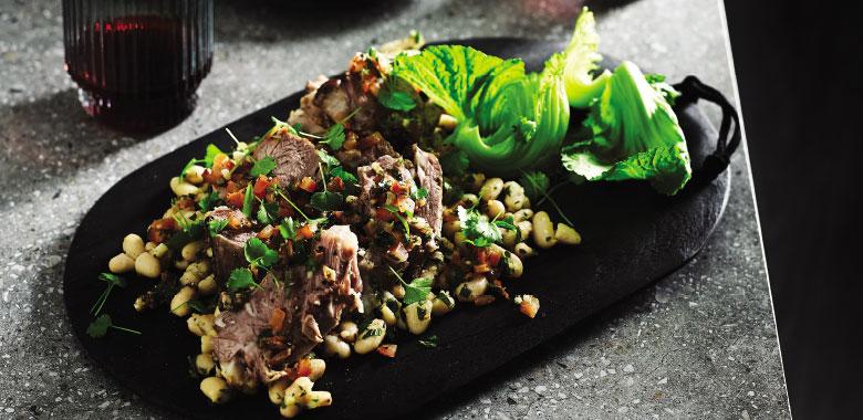 Abbacchio Alla Romana Battuta Lamb Shoulder & Sweet White Bean Salad