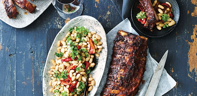 Spanish-style pork ribs with white bean salad