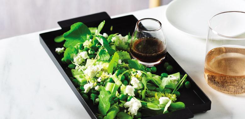 Cucumber & Fetta with Pea, Broad bean & Nasturtium Salad