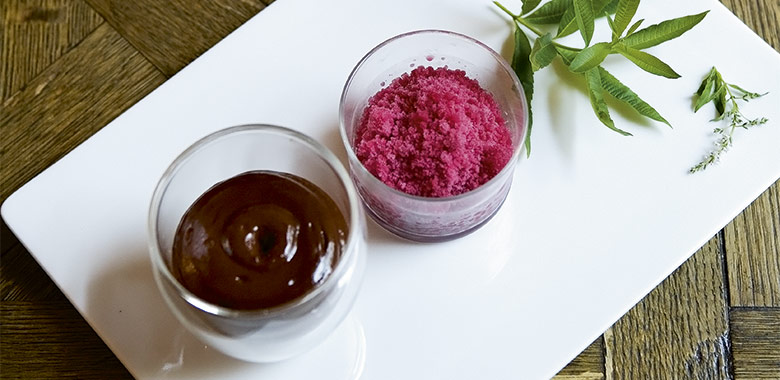 Chocolate Mousse With Pomegranate Granita Recipe