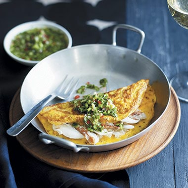 Crab Omelettes With Spicy Cucumber Recipe