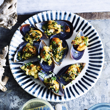 Lyndey Milan's Mussels with garlic crumbs recipe thumb