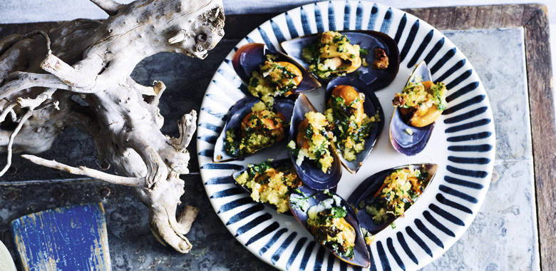Lyndey Milan's Mussels with garlic crumbs recipe