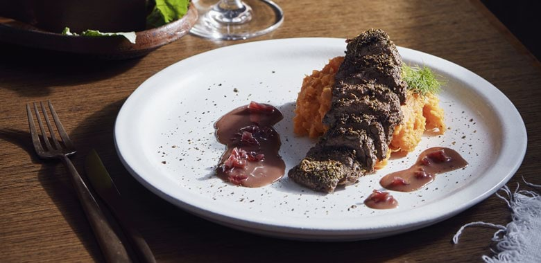 Mark Olive's crusted kangaroo fillets recipe