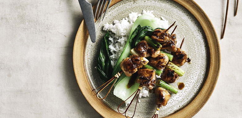 Lydney Milan's Miso-glazed chicken skewers