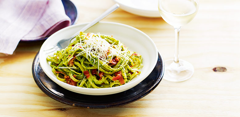 Linguine With Basil And Crispy Recipe