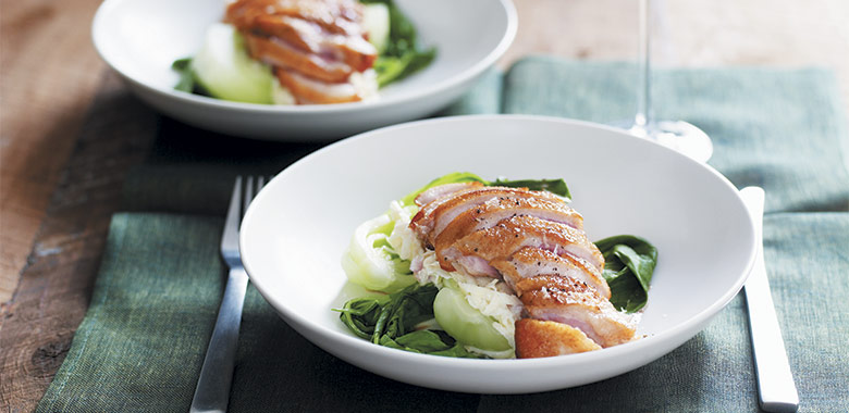Duck Breasts Bok Choy And Celeriac Salad Recipe