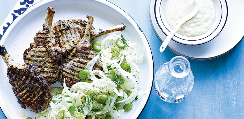 Greek Style Pork Cutlets With Skordalla Fennel And Broadbean Salad Recipe