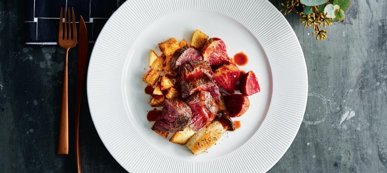 Kangaroo Fillet, King Brown Mushroom, Potato, Roast Beets and Merlot Jus