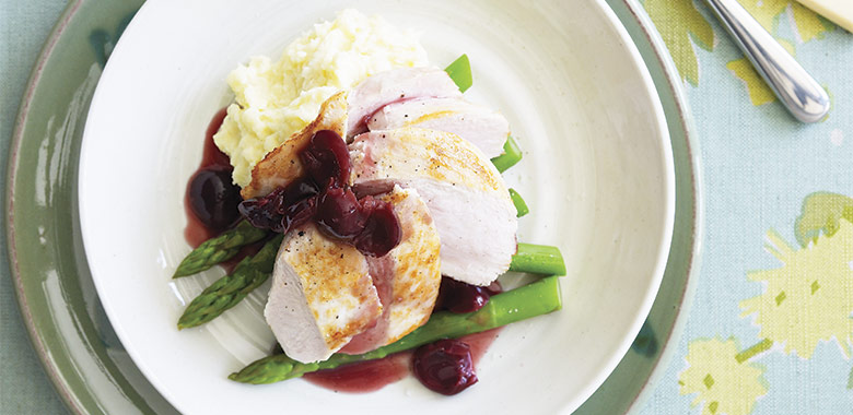 Roast Chicken With Parsnip Mash Asparagus And Cherry Glaze Recipe