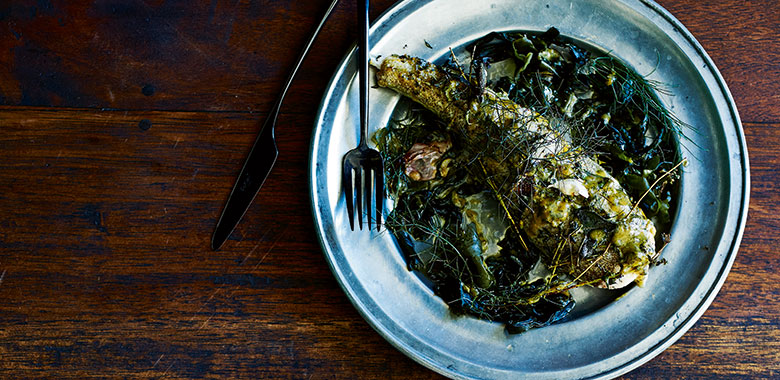 Colin Fassnidge's  Roast flathead, pickled seaweed and seaweed butter