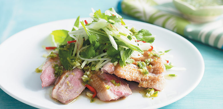 Barbecued Duck Breast And Green Paw Paw Salad Recipe