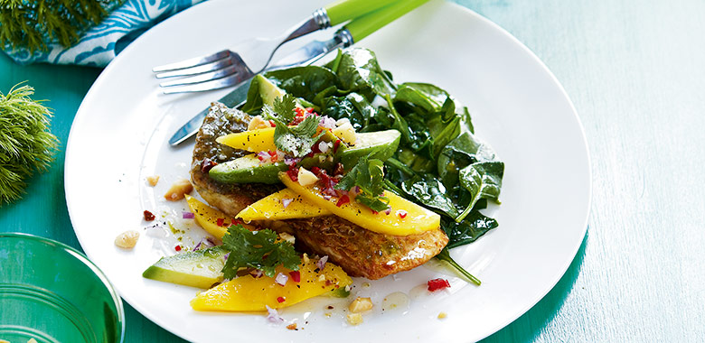Barramundi With Mango And Macadamia Salad Recipe
