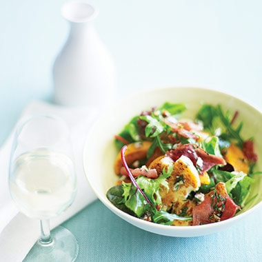 Peach Haloumi And Prosciutto Flake Salad With Lime And Hazelnut Recipe