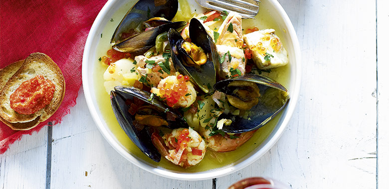 A Simple Bouillabaisse With Rouille And Croutons Recipe