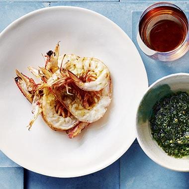 Dan Hongs Grilled King Prawns With Seaweed Salsa Verde Recipe