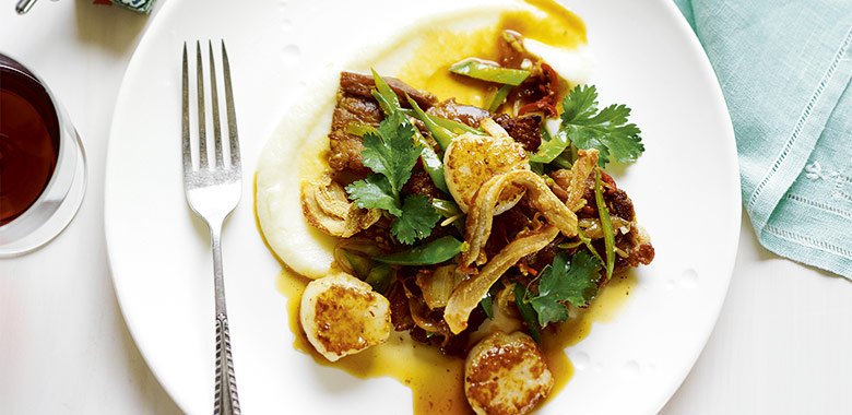 Lyndey Milans Crisp Cantonese Flavoured Pork And Scallops With Cauliflower Puree Recipe