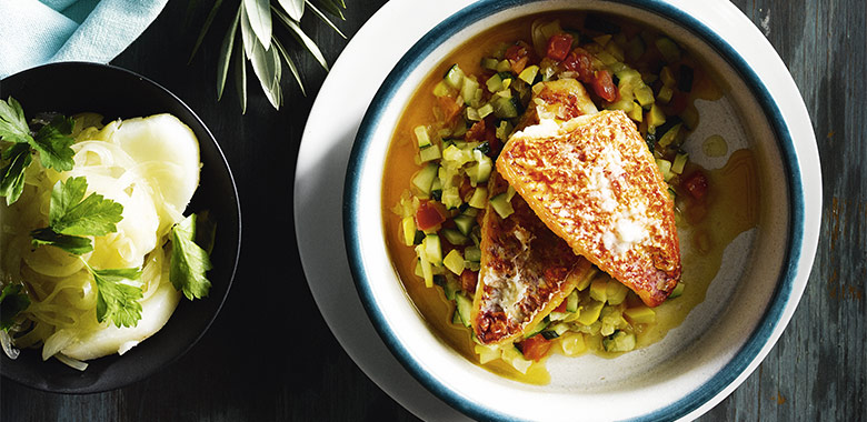 Red Mullet Fillets With Zucchini And Warm Potato And Onion Salad Recipe