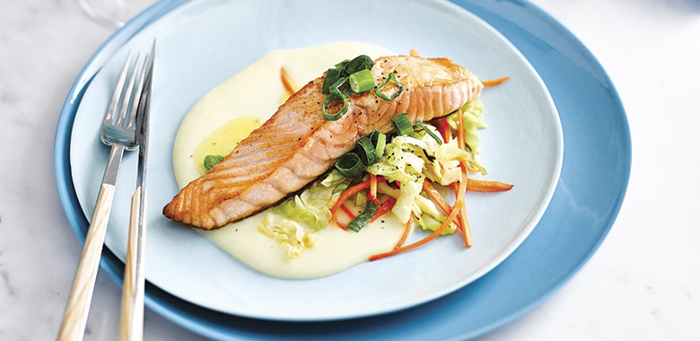 Salmon With Irish Potato Sauce And Green Recipe