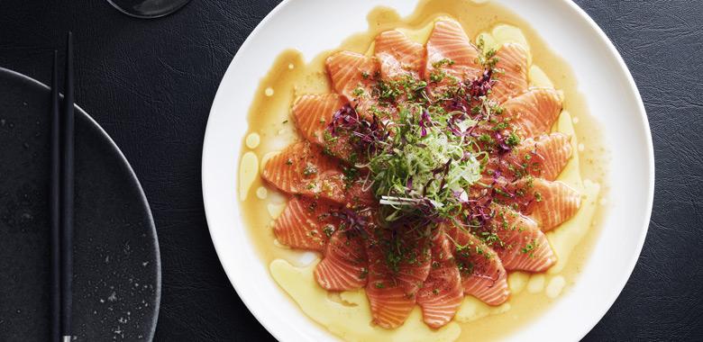 Tetsuya Wakudu's  Salmon carpaccio with wasabi recipe