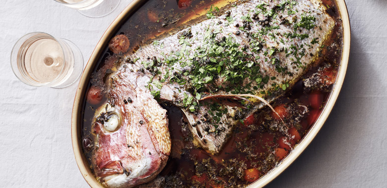 Tetsuya Wakudu's  Slow roasted snapper with olive, capers and tomato recipe