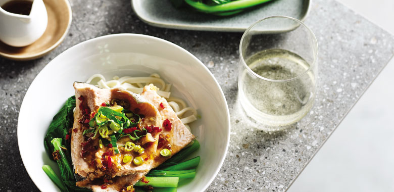 Steamed Rainbow Trout with Choy sum and Soy