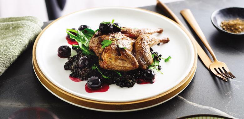 Szechuan Quail with Blueberry & Beluga Lentil Salad