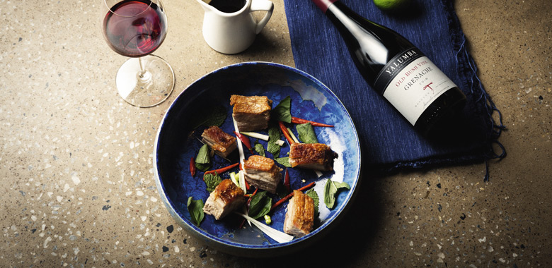 Yalumba Old Bush Vine Grenache paired with Asain-Style pork belly