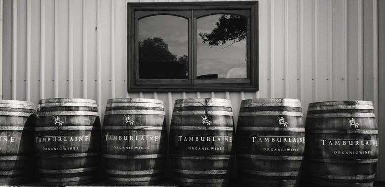 Organic barrels at Tamburlaine Organic Wines