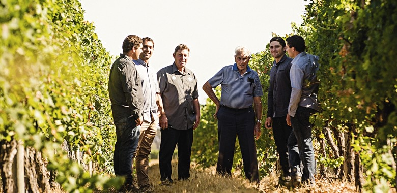 Three generations of Credaros in their Woolston vineyard