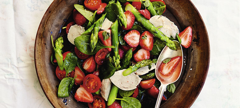 Rachel Khoo's Poached Chicken with Quick Pickled Strawberry Salad