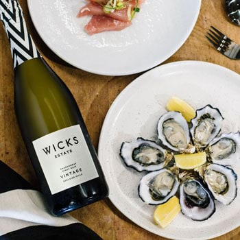 Wicks Estate wines sparkling and oysters