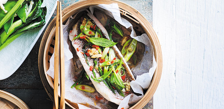Steamed snapper with asian flavours recipe