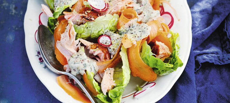 Rachel Khoo's hot smoked salmon salad with gravlax dressing
