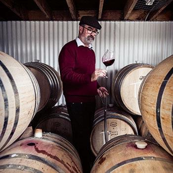 Tim Kirk at Clonakilla vineyard barrel room
