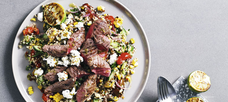 Corn and Quinoa Salad with BBQ Lamb