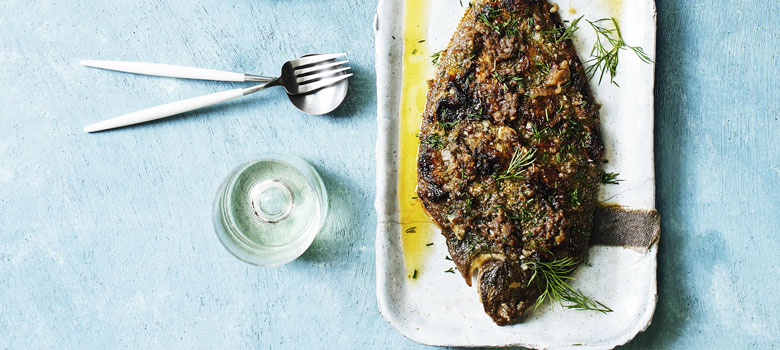 Whole roasted flounder, anchovy butter and herbs