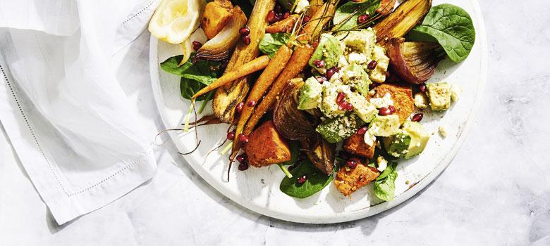 Warm Moroccan Avocado and Roast Vegetable Salad