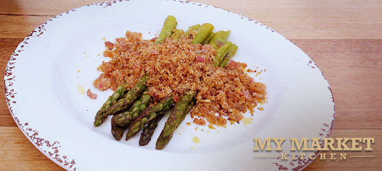 Charred asparagus with anchovy crumb