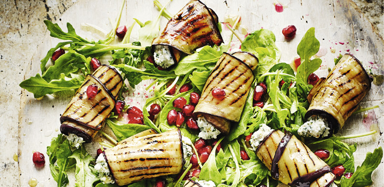 Rick Stein's char-grilled aubergine and feta rolls