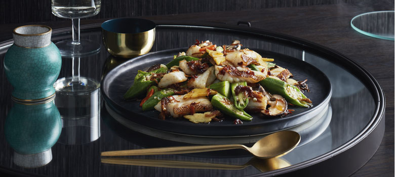 Philip Chan's stir fry coral trout fillet with okra and XO sauce recipe