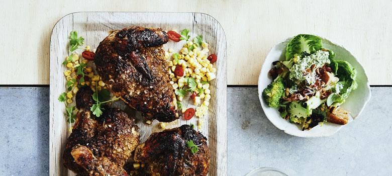 Darren Robertson's herb stalk chicken with corn and citrus recipe