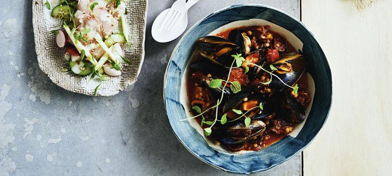 Darren Robertson's mussels, fregola and chorizo recipe
