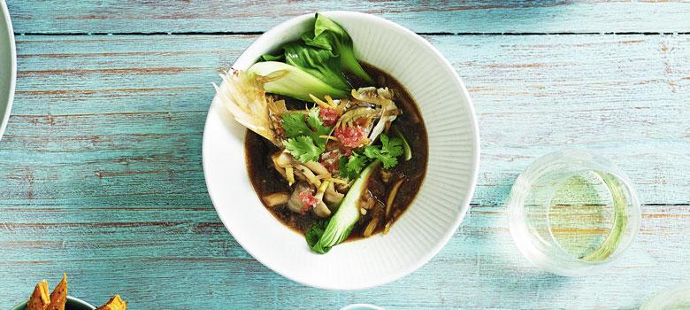 Lyndey Milan's wok-fried barramundi in Asian broth