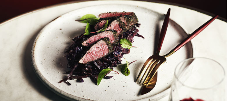 Mark Olive's seared kangaroo fillet with red cabbage
