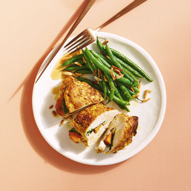 Lyndey Milan's chicken stuffed with fresh peach and spices